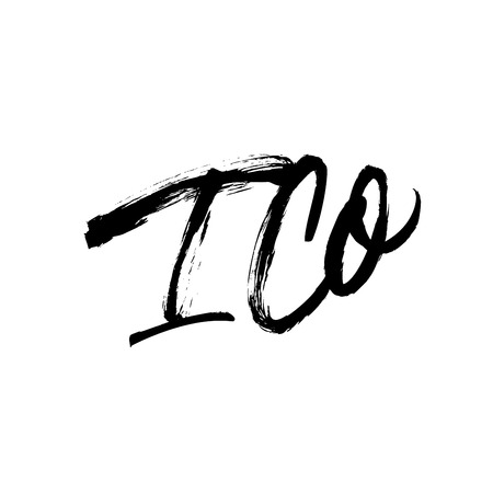 ICO phrase. Hand drawn brush style modern calligraphy. Vector ink illustration of handwritten lettering. Grunge brushstroke phrase. Initial Coin Offering abbreviation.