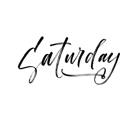 Saturday phrase. Hand drawn brush style modern calligraphy. Vector illustration of handwritten lettering.