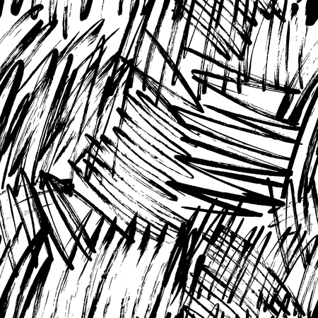 Grunge garabatos dibujados a mano de patrones sin fisuras. Líneas caóticas, tramas de dibujo a pincel. Fondo irregular de la pincelada seca de pintura negra, telón de fondo. Textura de pincel de tinta. Papel de regalo, diseño de papel tapiz.