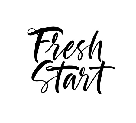 Fresh start phrase. Modern vector brush calligraphy. Ink illustration with hand-drawn lettering.  イラスト・ベクター素材