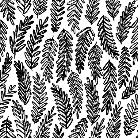 Acacia leaves hand drawn seamless pattern. Vector ink brush texture with tree branches. Hand drawn laurel twig. Black and white grunge brushstroke drawing. Botanical textile, wrapping paper design.