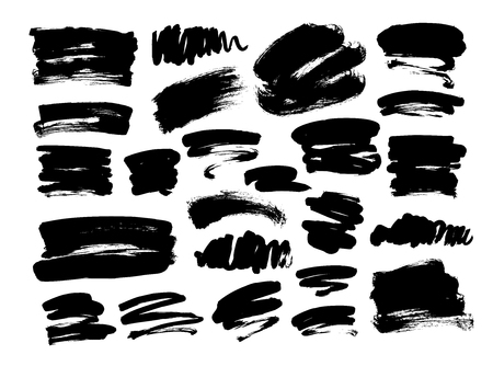 Collection of hand drawn vector brush strokes. Ink illustration. Brush strokes text boxes. Vector paintbrush set. Isolated on white background. Freehand drawing. Grunge design elements. Dirty texture.
