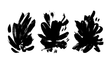 Collection of black brushstrokes hand drawn vector illustrations. Abstract freehand drawing. Floral dry paint brush texture. Grunge isolated clipart. Greeting card, postcard, textile monochrome design element.