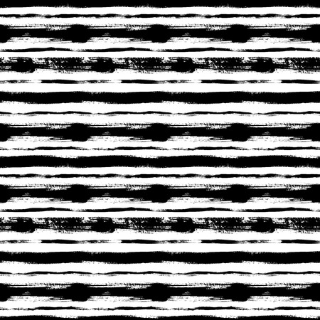Black horizontal lines hand drawn seamless pattern. Grunge ink brush striped texture. Rough paint dry brushstrokes. Abstract background design. Freehand textured drawing. Wrapping paper vector fill. Vetores