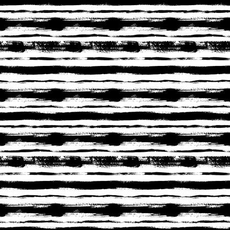 Líneas horizontales negras dibujadas a mano de patrones sin fisuras. Cepillo de tinta grunge textura rayada. Pinceladas secas de pintura rugosa. Diseño de fondo abstracto. Dibujo texturizado a mano alzada. Relleno de vector de papel de embalaje. Ilustración de vector