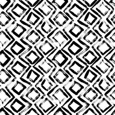 Geometric hand drawn seamless pattern. Vector zig zag lines and squares grunge drawing. Black paint dry brushstroke abstract shapes background. Ink brush texture. Wrapping paper, wallpaper design.