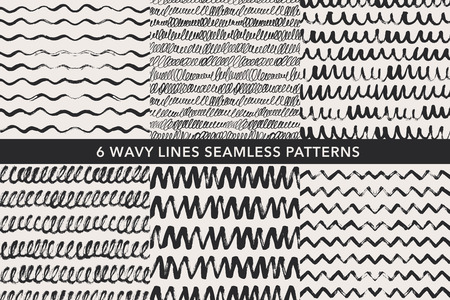Wavy lines hand drawn seamless patterns set. Freehand black ink pen scribbles. Zig zag grunge paintbrush drawing. Dry brush texture background, backdrop. Wrapping paper, wallpaper design