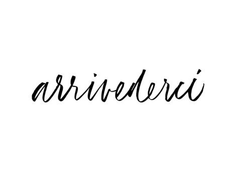 Arrivederci phrase handwritten with brush. Ink pen vector lettering. Goodbye in Italian language. T shirt decorative print. Brush calligraphy isolated on white background. Illustration