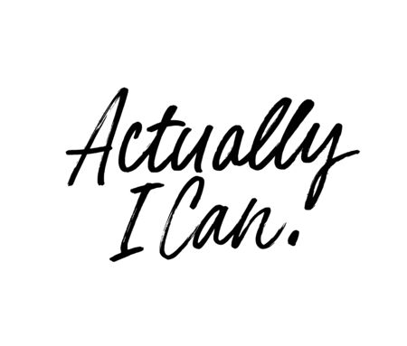Actually I can ink pen vector lettering. Optimist phrase, hipster saying handwritten calligraphy. T shirt decorative print. Positive message. Motivational quote, happy lifestyle slogan.