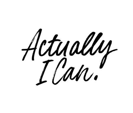 Eigentlich kann ich Vektorbeschriftungen mit Stiften einfärben. Optimistische Phrase, Hipster, der handgeschriebene Kalligraphie sagt. T-Shirt dekorativer Druck. Positive Nachricht. Motivationszitat, glücklicher Lebensstilslogan.