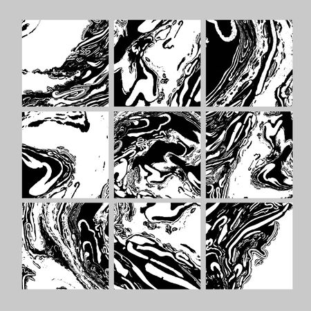 Monochrome marble ink vector textures backgrounds set. Abstract backdrop for social media posts or stories. Paint mixing, fluid art. Modern art book, magazine cover, poster, flyer vector mockup
