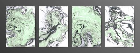 Green marble ink vector textures backgrounds set. Ink colors are amazingly bright, luminous, translucent, free-flowing. Abstract marbled backdrop. Paint mixing, fluid art. Modern art book Stock Illustratie