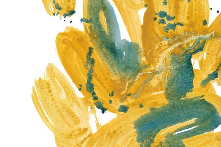 Yellow hand drawn watercolor brush strokes with green blots. Modern colorful blending raster illustration. Multicolor ink background. Watercolor paint blobs and smudges effect wallpaper.
