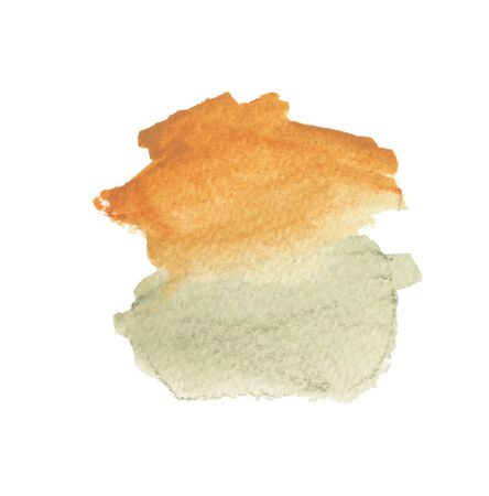 Hand drawn watercolor painted shape. Modern orange and olive green blending illustration. Multicolor ink brush strokes. Watercolor paint blobs and smudges isolated on white background. Stok Fotoğraf