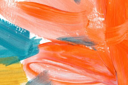 Bright orange and turquoise hand drawn watercolor painting. Modern blue, white and yellow brush strokes. Multicolor acrylic background. Oil paint smears and smudges effect wallpaper.