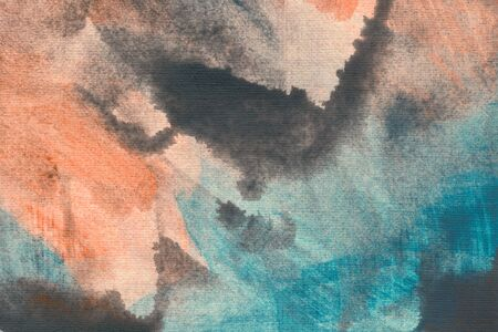 Turquoise, orange and brown watercolor wallpaper. Hand drawn paintbrush swabs raster illustration. Multicolor smears, creative color mix. Watercolor artwork. Modern expressionist painted texture.