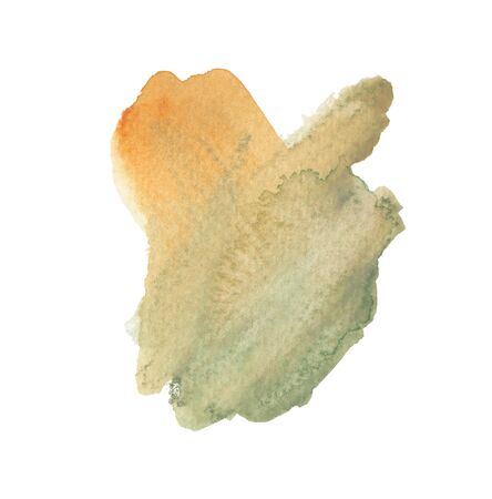 Hand drawn watercolor painted shape. Modern orange and olive green blending illustration. Multicolor ink brush strokes. Watercolor paint blobs and smudges isolated on white background. 写真素材