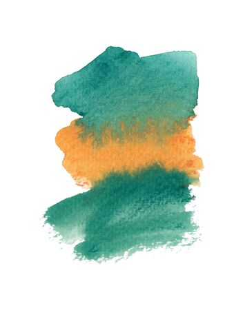 Orange and emerald green watercolor shape isolated on white background. Hand drawn paintbrush swabs raster illustration. Multicolor smears, creative color mix. Watercolor artwork. Modern painting.