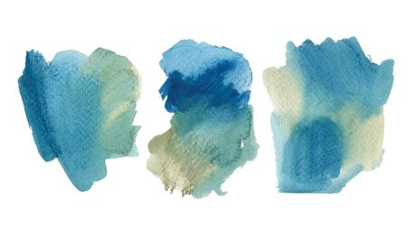 Collection of bright colorful watercolor shapes. Hand drawn blue and olive green painted elements isolated on white. Aquarelle brush strokes, touches, drops and spots drawing background.  Reklamní fotografie