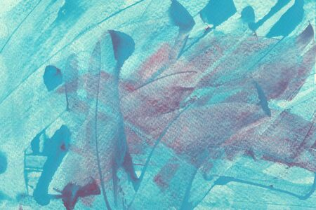 Turquoise and pale red splash watercolor texture background. Light blue and red freehand painted splashes, brushstrokes, smears, stains wallpaper. Translucent background. Expressionist painting.