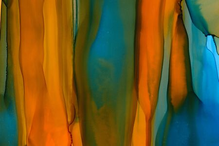 Mixed colors watercolor texture background. Hand drawn orange and navy smears, splashes abstract backdrop, alcohol ink. Vertical strokes and lines. Flamboyant brush strokes, bright dyes wallpaper Reklamní fotografie
