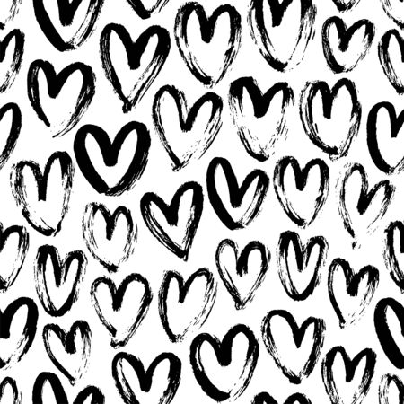 Ink brush hearts hand drawn seamless pattern. Romantic figures vector illustration. Monochrome freehand dry paint brush stroke shapes. Decorative textile, wallpaper, wrapping paper, textile design