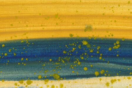 Horizontal colorful brush strokes ink texture background. Hand drawn ultramarine and yellow abstract paint smudges, blots with brush strokes backdrop. Vibrant watercolor smears wallpaper Zdjęcie Seryjne
