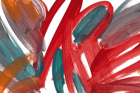 Red, orange and turquoise watercolor brush strokes on white background. Colorful wallpaper. Multicolor smears, creative color mix. Expressionist painting texture.  Bright dyes wallpaper.