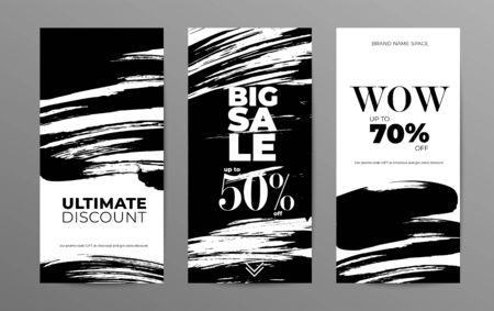 Sale story template for social media. Wholesale web banner designs pack. Low prices and discounts offers promo posters collection. Black paint brushstrokes illustrations with typography