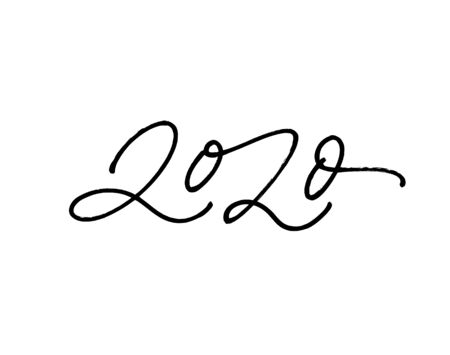 2020 pen number calligraphy inscription. Hand drawn Happy New Year 2020 vector ink illustration. Isolated on white background. Usable for banners, greeting cards, calendars, gifts etc.