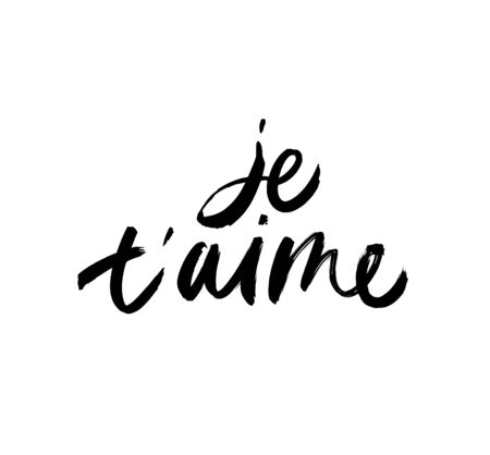 Je taime black ink vector lettering. I love you in french grunge handwritten inscription. Romantic hand drawn phrase isolated on white background. Valentine day greeting card, print design element