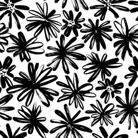 Brush flower vector seamless pattern. Hand drawn botanical ink illustration with floral motif. Camomile or daisy painted by brush. Hand drawn painting for your fabric, wrapping paper, wallpaper design