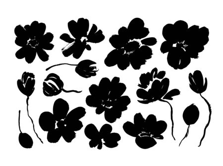 Spring flowers hand drawn vector set. Black brush flower silhouettes. Roses, peonies, chrysanthemums isolated cliparts. Floral drawings collection. Grunge dry paint brushstrokes on white background. Ilustracja