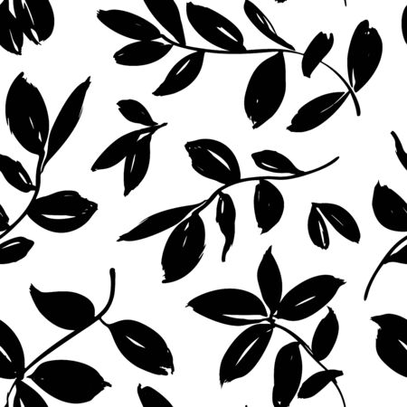 Leaves and branches vector seamless pattern. Brush leaves and twigs. Olive, sage or eucalyptus branch modern pattern. Ink illustration. Abstract black and white background with distressed texture Ilustracje wektorowe