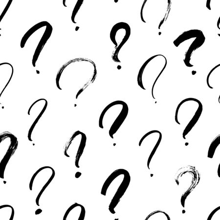 Question marks vector seamless pattern. Hand drawn doodle questions marks icon background. Ink illustartion. Hand drawn punctuation elements. Faq, ask symbols.