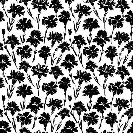 Carnation flower seamless pattern. Abstract brush strokes flowers background. Chamomile, daisy, chrysanthemums blooming. Ink drawing illustration. Monochrome ink brush vector texture. Wrapping paper
