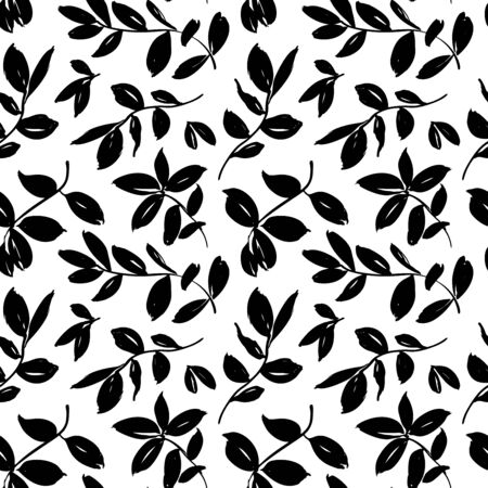 Leaves and branches vector seamless pattern. Brush leaves and twigs. Olive, sage or eucalyptus branch modern pattern. Ink illustration. Abstract black and white background with distressed texture