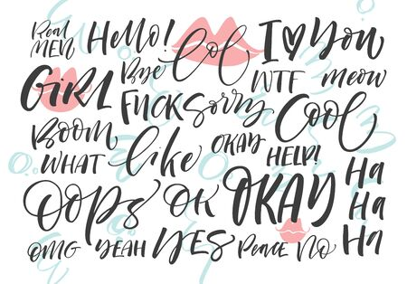 Set of badges, pins with words: hello, bye, wtf, lol, cool, okay, oops, boom, what, girl, sorry, help. Modern brush calligraphy. Lettering funny phrase.