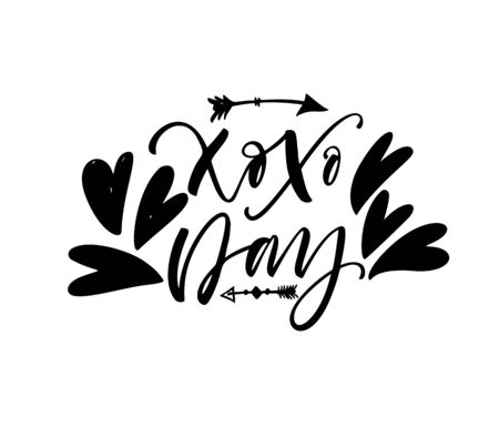 Xoxo day phrase. Lettering for Valentine's day. Ink illustration. Modern brush calligraphy. Isolated on white background.