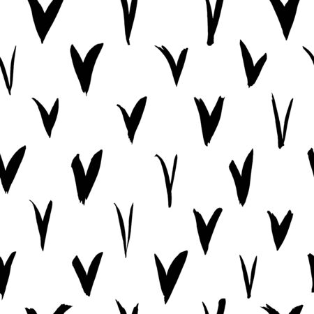 Check marks vector seamless pattern. Abstract hand drawn ink background. Doodle and freehand check marks. Black and white grunge ornament for wallpaper, wrapping paper, textile, fabrics, web banners.