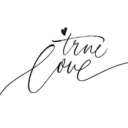 True love phrase with simple heart. Vector modern brush calligraphy. Love quote. Hand drawn ink illustration isolated on white background. Vector inscription for prints, cards, posters, textile etc.