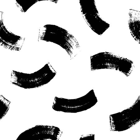 Brush strokes vector seamless pattern in memphis style. Full rounded lines and smears. Black and white mosaic texture. Hand drawn grunge ink illustration. Geometric black paint seamless pattern.