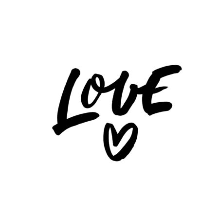 Love phrase with simple heart. Vector modern brush calligraphy. Love quote. Hand drawn ink illustration isolated on white background. Vector inscription for prints, cards, posters, textile etc.