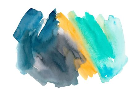 Orange, turquoise and gray watercolor vector background isolated on white. Hand drawn colorful painted texture. Bright wallpaper, background, banner or poster. Modern expressionist painting.