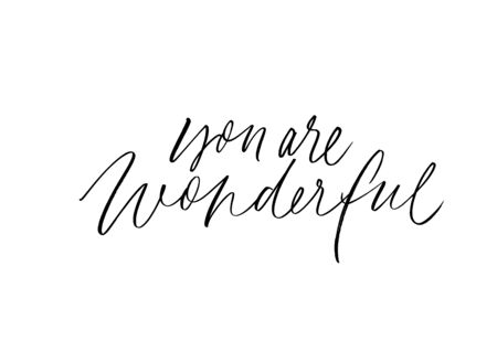 You are wonderful ink pen vector lettering. Cheering compliment, kind phrase handwritten calligraphy. Inspirational postcard design element. Positive message, admiration, self acceptance slogan