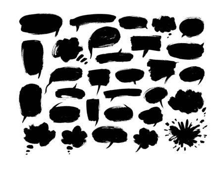 Black paint speech bubbles vector illustrations set. Hand drawn empty thought and text clouds isolated on white background. Different Ink brush comic messages, grungy design elements collection 일러스트