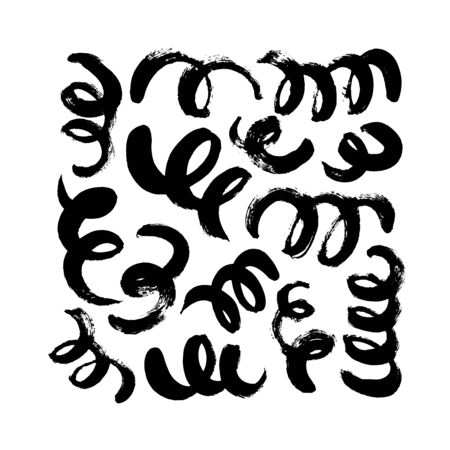 Swirls and curls vector elements collection. Grunge black paint brush strokes. Curly hair imitation. Hand drawn black and white doodle and freehand lines. Modern monochrome abstract clip art. Illustration