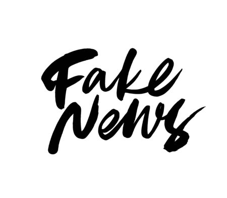 Fake news ink pen vector lettering. Modern brush calligraphy. False and disinformation message or quote. Hand drawn typography isolated on white background.