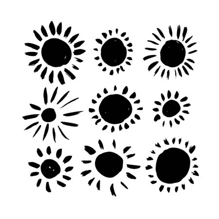 Sun icon element vector collection. Hand drawn black brush strokes, circles and rays. Loose black shapes isolated on white background. Ink pen drawing illustration. Sunlights painted with brush.