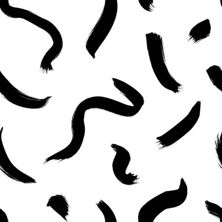 Wavy and swirled brush strokes vector seamless pattern. Black paint freehand scribbles, abstract ink background. Brushstrokes, smears, lines, squiggle pattern. Abstract wallpaper design, textile print Illustration